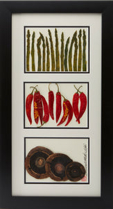 'Asparagus, Peppers, and Mushrooms' by Botanical Art by Diane De Roo