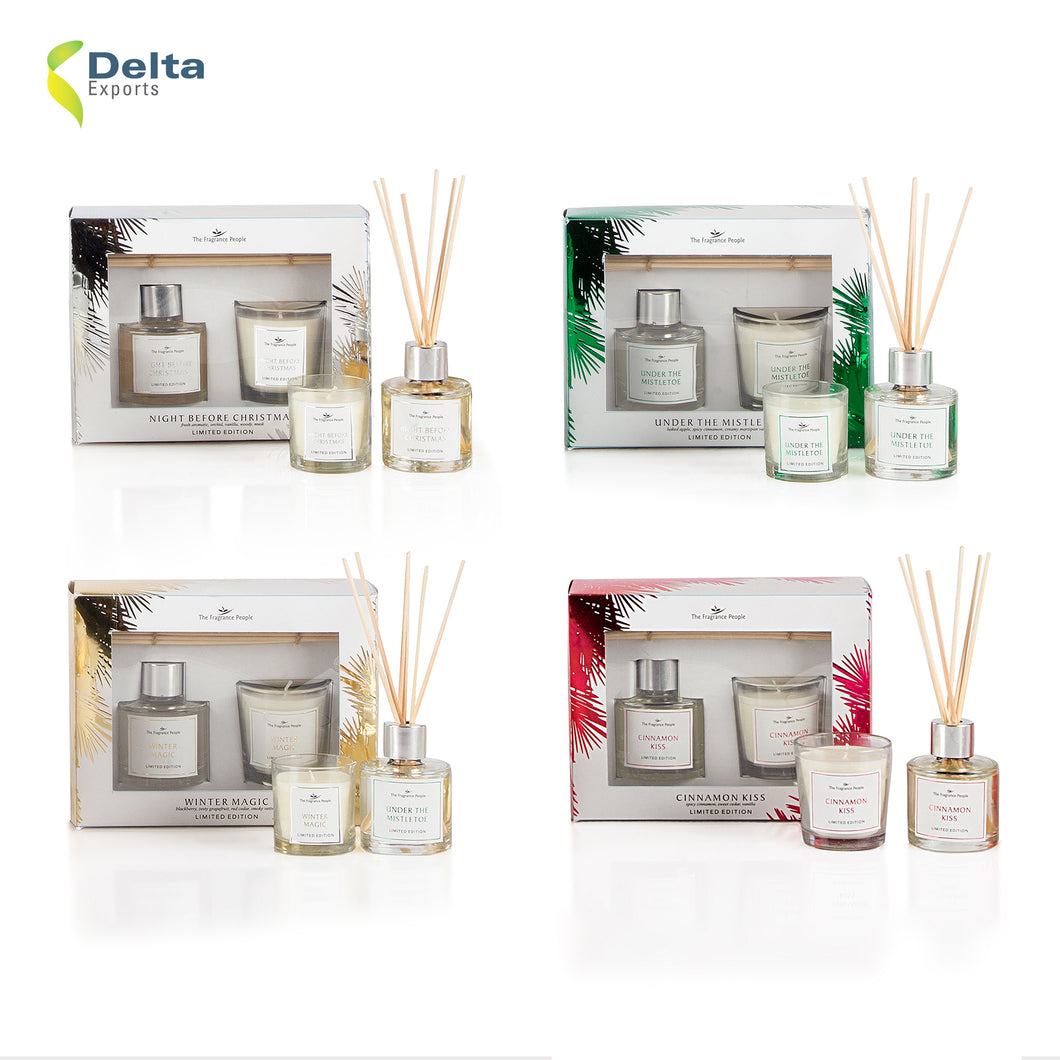 FRAGRANCE GIFT SET WITH REED DIFFUSER AND VOTIVE GLASS CANDLE