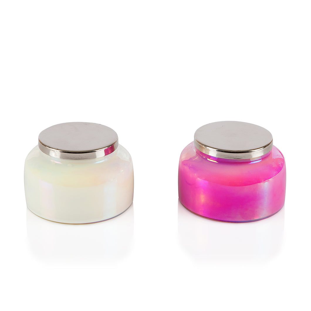 COLORED LUSTRE GLASS CANDLE WITH TIN LID