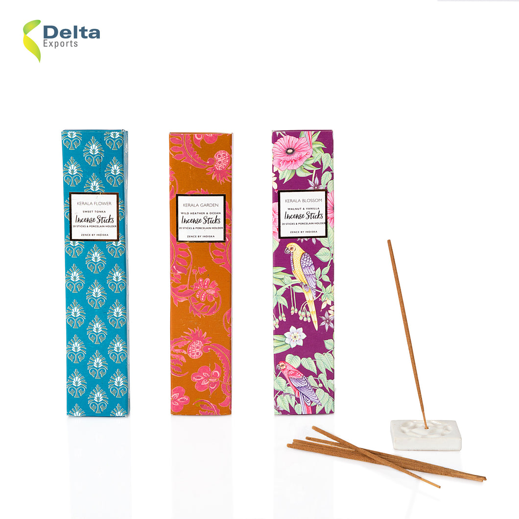 PACK OF 20 INCENSE STICKS WITH CERAMIC HOLDER