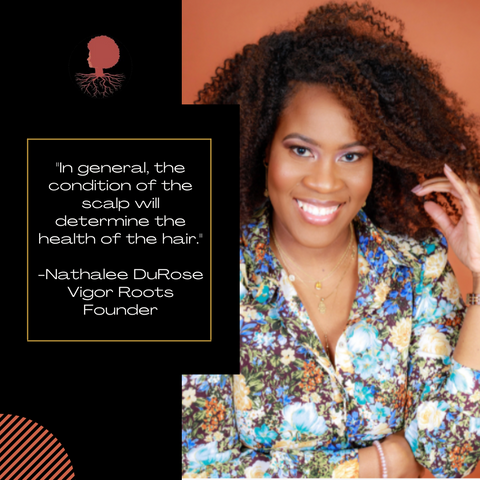 """Vigor Roots Founder Nathalee DuRose smiles against a bronze background. She is quoted as saying: """"In general, the condition of the scalp will determine the health of the hair."""""""
