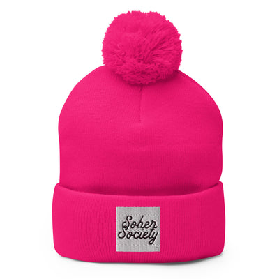 Sober Not Sorry Sober Society Collection Embroidered Pom-Pom Beanie - neon pink