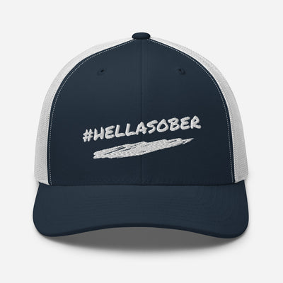 Sober Not Sorry #HELLASOBER Collection Trucker Cap - Navy/White