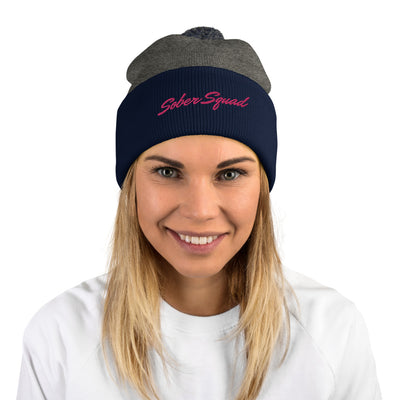 Sober Not Sorry Sober Squad Collection Embroidered Pom-Pom Beanie - dark heather grey/navy