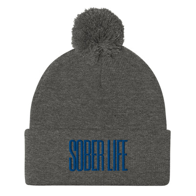 Sober Not Sorry SOBER LIFE Collection Embroidered Pom-Pom Beanie - dark heather grey