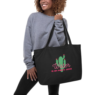 Sober Not Sorry Water is my Party Juice Collection Large organic tote bag - black