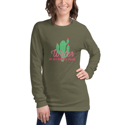 Sober Not Sorry Water is my Party Juice Collection Unisex Long Sleeve Tee - military green