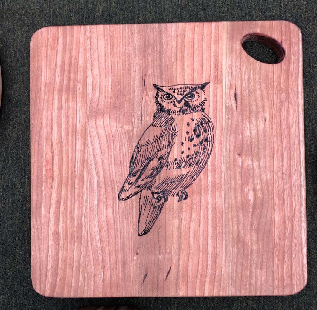 "Owl Cherry Board 9"" x 9"""
