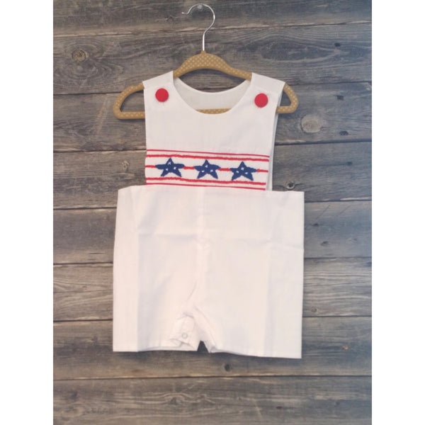 Boutique Stars and Stripes White Summer Jon Jon- Various Sizes - Swank Baby Boutique