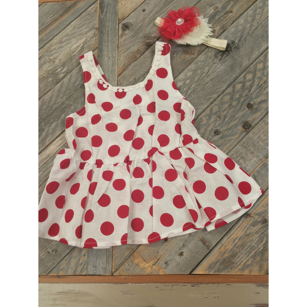 Polka Dot Bow Peplum Top (Red)- Various Sizes - Swank Baby Boutique