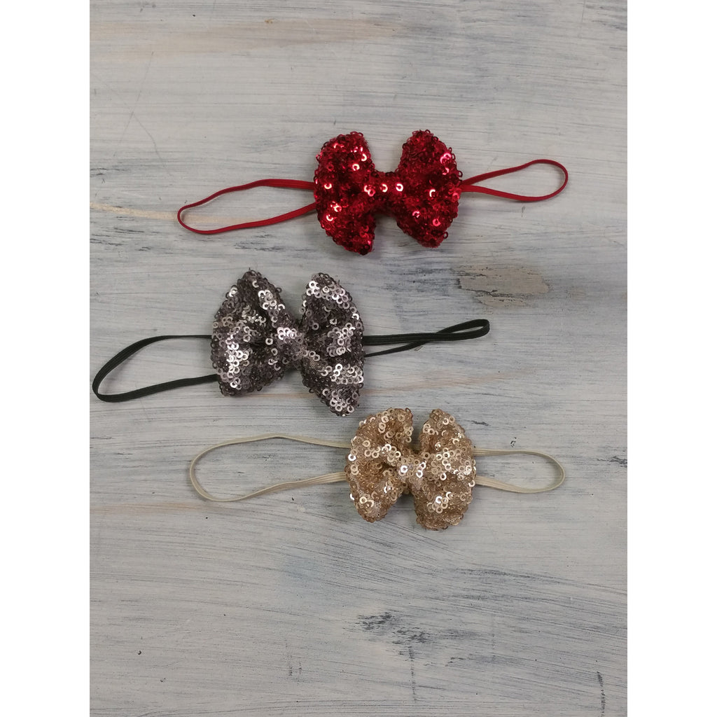 Mini Sequin Bow Headband- Multiple Colors - Swank Baby Boutique