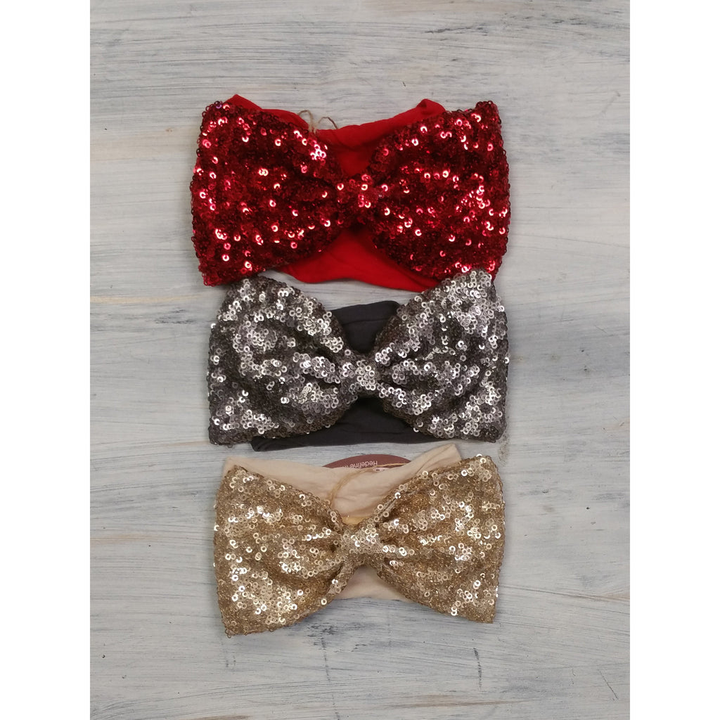Sequin Bow Headband- Multiple Colors - Swank Baby Boutique