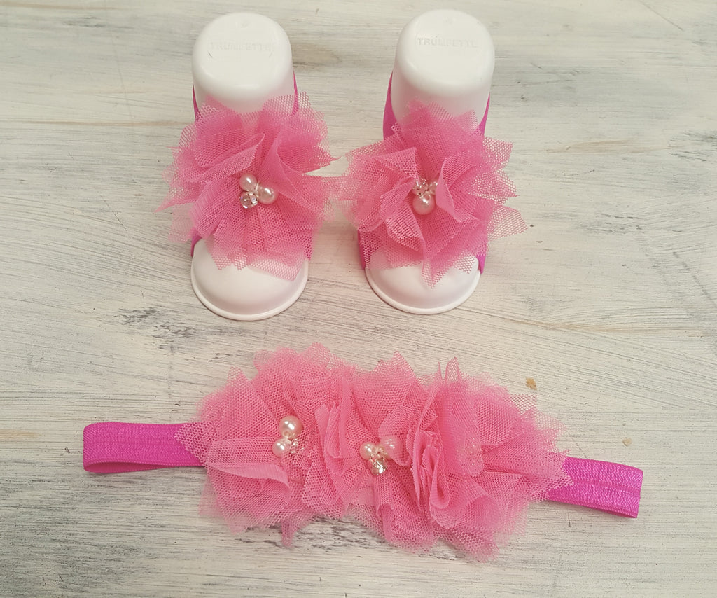 Infant Flower Crib Sandals and  Flower Crown Headbands - Various Colors