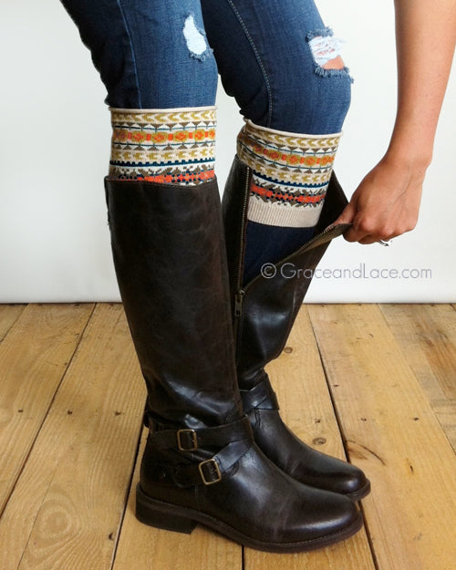Grace & Lace Patterned Boot Cuffs in Fair Isle - Size Adult