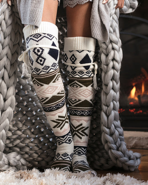 Grace & Lace Alpine Thigh High Boot Socks in  Winter Intarsia- Size Adult -NWT