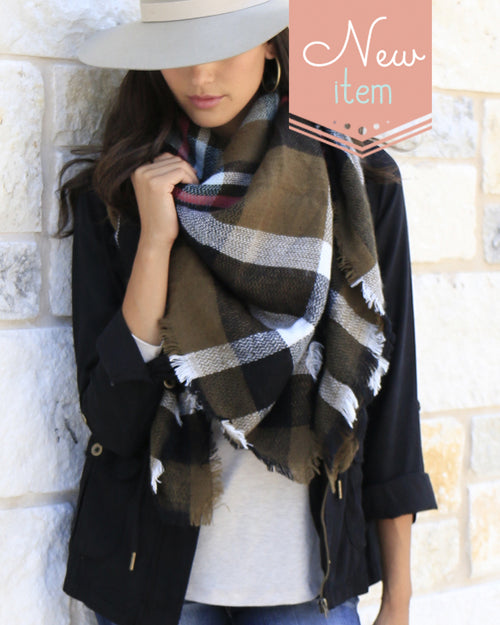 Grace & Lace Blanket Scarf/Toggle Poncho in Olive Plaid - Size Adult-NWT
