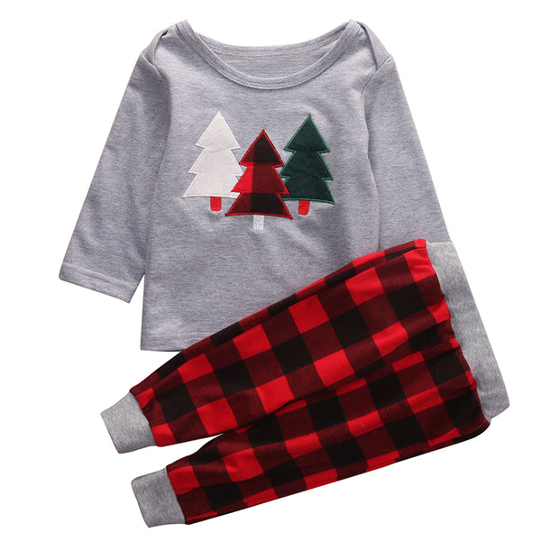 Christmas Tree 2 pc Outfit with Buffalo Plaid Pants -Various Sizes-NWT