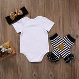 Summer Newborn Girls Bodysuit+Leg Warmers+Headband Outfits Set Size 0-6m