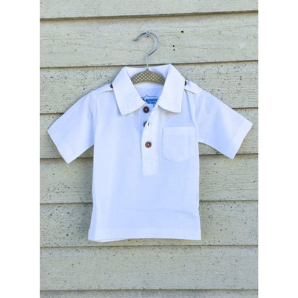 Ruggedbutts White Pocket Polo - Swank Baby Boutique