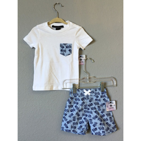 Feather 4 Arrow Pineapple Tee & Playa Shorts - Swank Baby Boutique