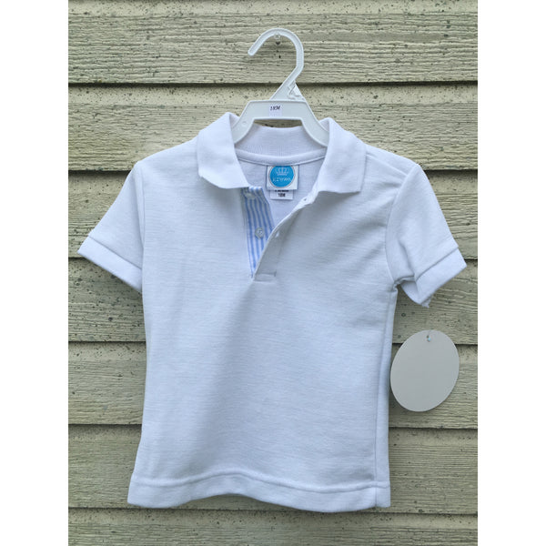 Krewe Seersucker Lined White Polo - Swank Baby Boutique