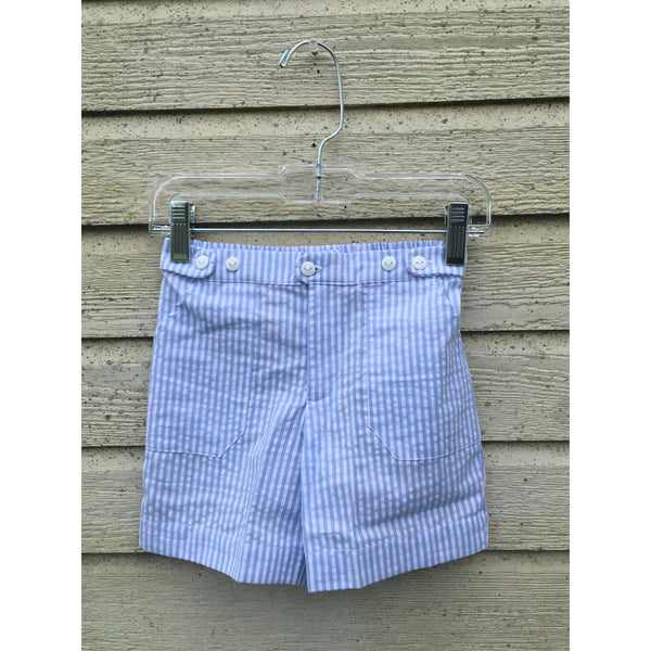Krewe Blue Seersucker Shorts - Swank Baby Boutique