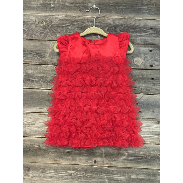 Rufflebutts Red Satin Ruffle Dress - Various Sizes - Swank Baby Boutique