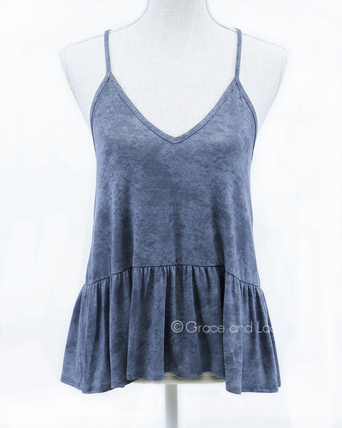 Grace & Lace Sabrina Washed Blue Tank - Size Adult Small -NWT