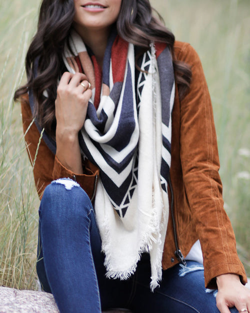 Grace & Lace Tribal Crepe Blanket Scarf in Rust/Ivory- Size Adult -NWT