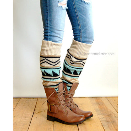 Grace and Lace Ladies Aztec Patterned Leg Warmers - Tan - ADULTS - Swank Baby Boutique