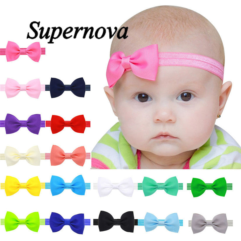 Baby Girls Mini Bowknot Hairband Elastic Headband-Various Colors - Swank Baby Boutique