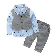NEW Baby boys spring autumn gentleman Clothing Sets vest+ stars Shirt + Pants 3pcs - Swank Baby Boutique