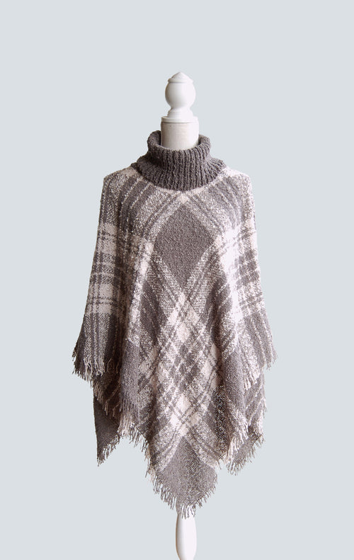 Grace & Lace Cowl Neck Poncho in Grey & Cream - Size Adult -NWT
