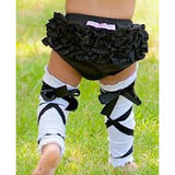 Rufflebutts Black Ballet Bow Legwarmers - Swank Baby Boutique