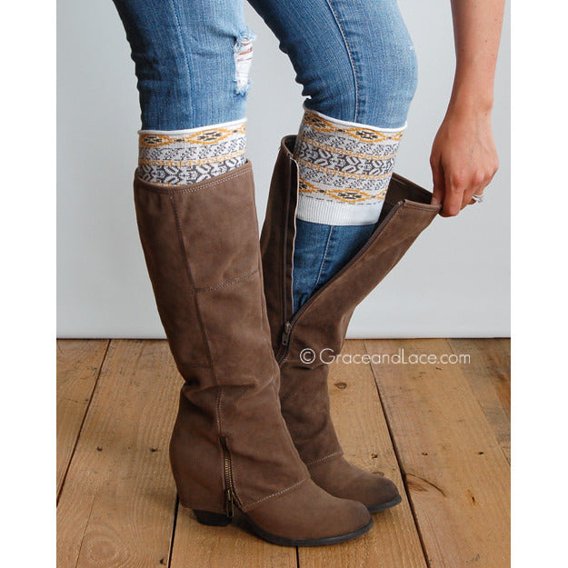 Grace and Lace Ladies Aztec Patterned Boot Cuffs - ADULTS - Swank Baby Boutique