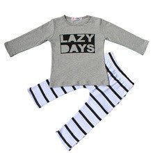 "Long Sleeve ""Lazy Days"" Shirt with Striped Pants Outfit -Various Sizes - Swank Baby Boutique"