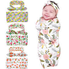Newborn Swaddle & headwrap Hospital Swaddled Set Floral baby - Swank Baby Boutique