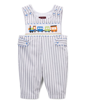 Gray Striped Train Smocked Overalls