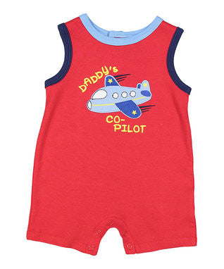 Buster Brown Red Stripe 'Daddy's Co-Pilot' Romper - Infant