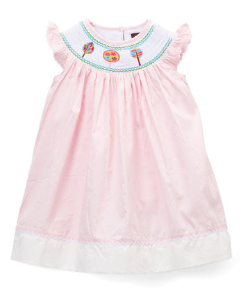 Pink & White Smocked Bishop Dress