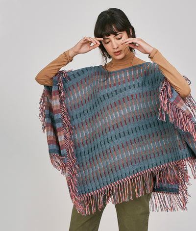 PONCHO STRIPED RIB REVERSIBLE