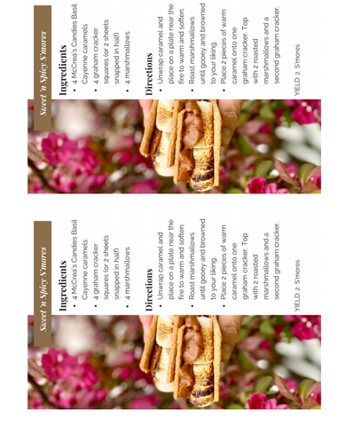 Downloadable Register cards: sweet and spicy s'mores featuring Basil Cayenne Caramel
