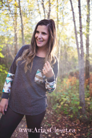 Aztec Sequin fall top (Charcoal)