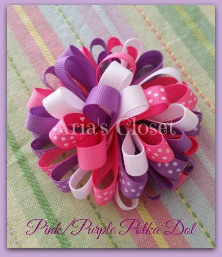 Pink/Purple Polka Dot Party Clip