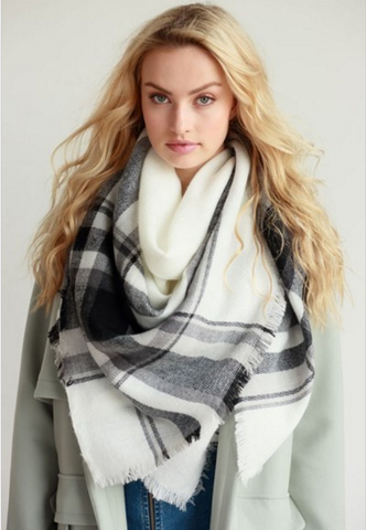 White with Black Classic Blanket Scarf