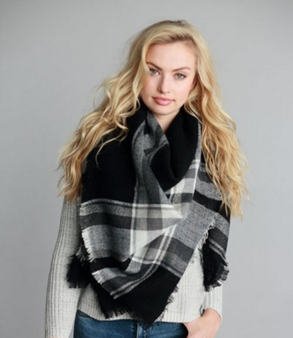 Classic Black with White Blanket Scarf