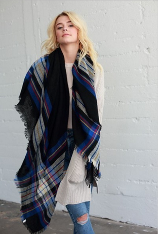 Fall Blanket Scarf (Black)