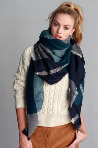 Fall Blanket Scarf (Blue and Teal)