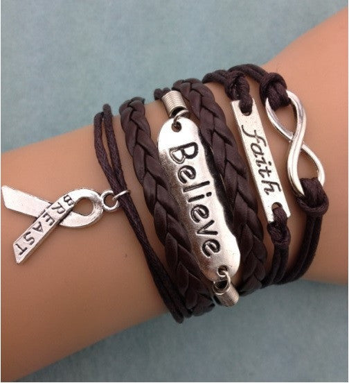 Breast Cancer Infinity Bracelet (Brown)