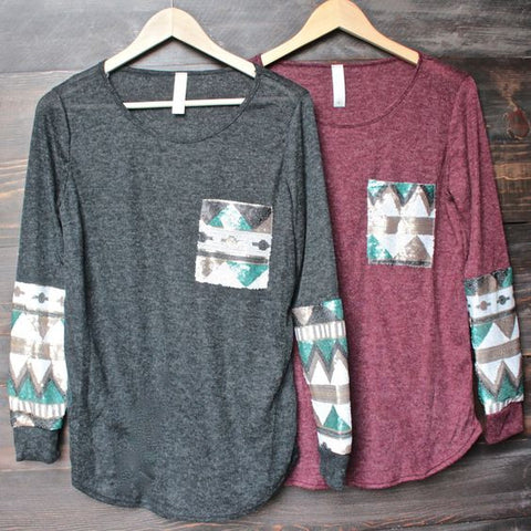 Aztec Sequin fall top (Burgandy)